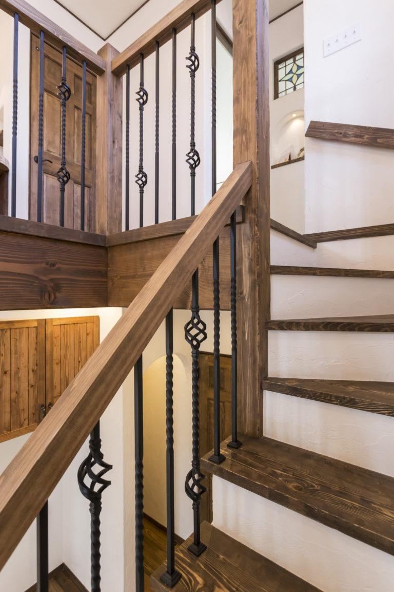 アイアン階段、手すり
